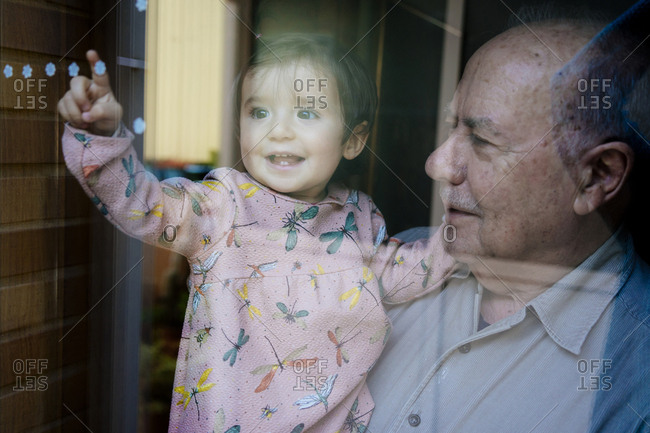 Cheerful granddaughter touching floral pattern on window while being carried by grandfather at home