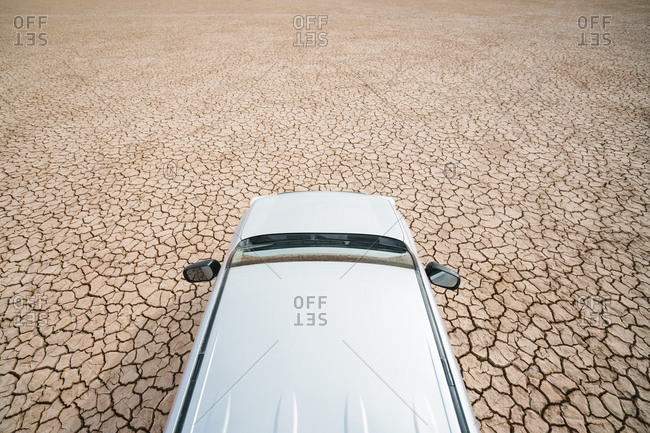 High angle view of off-road vehicle on barren landscape