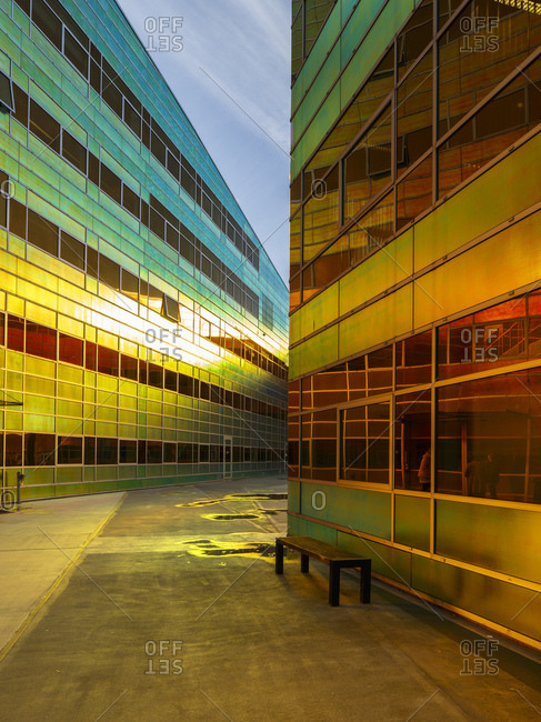 Almere, The Netherlands - January 30, 2018: La Defense contemporary office buildings with colorful reflective facade