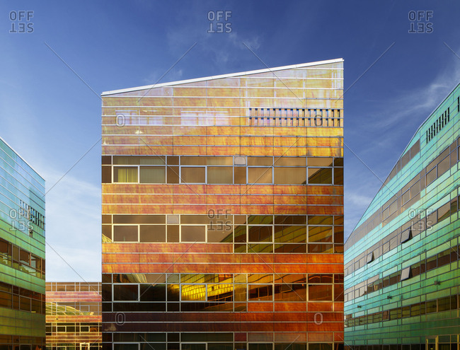 Almere, The Netherlands - January 30, 2018: Colorful modern building in the La Defense office building complex