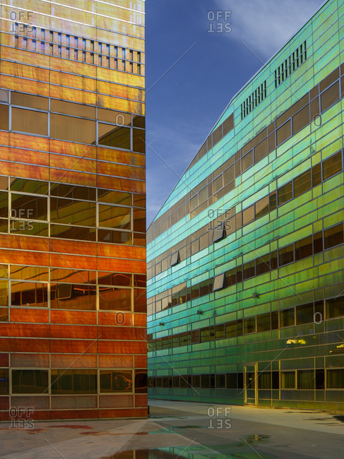 Almere, The Netherlands - January 30, 2018: Modern buildings in the La Defense office building complex