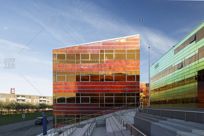 Almere, The Netherlands - January 30, 2018: Exterior of colorful La Defense modern office buildings
