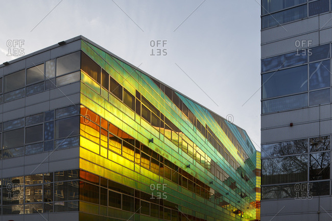 Almere, The Netherlands - January 30, 2018: Reflective exterior of La Defense modern office building