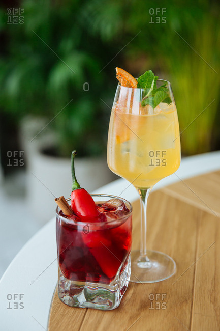 Fruity cocktails served in a restaurant
