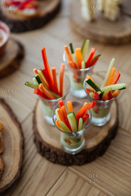 Overhead view of veggie stick appetizers