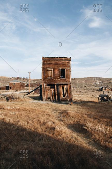 Deserted buildings in Bodie ghost town