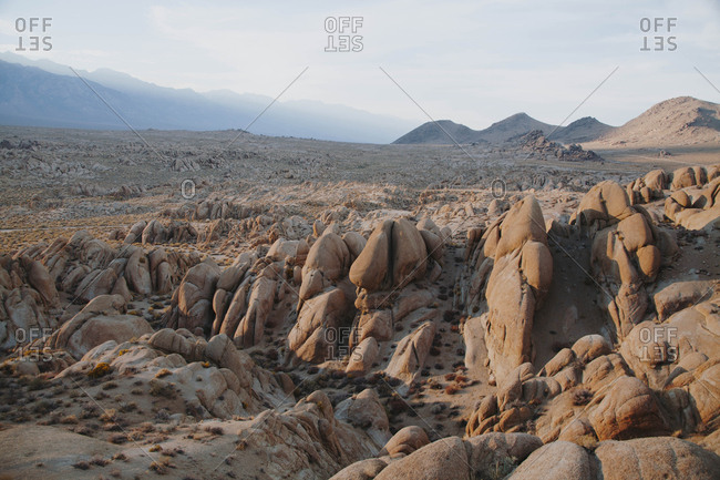 Rock formations in the desert of Alabama Hills, California