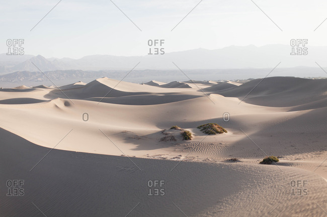 Morning sunlight over sand dunes in Death Valley