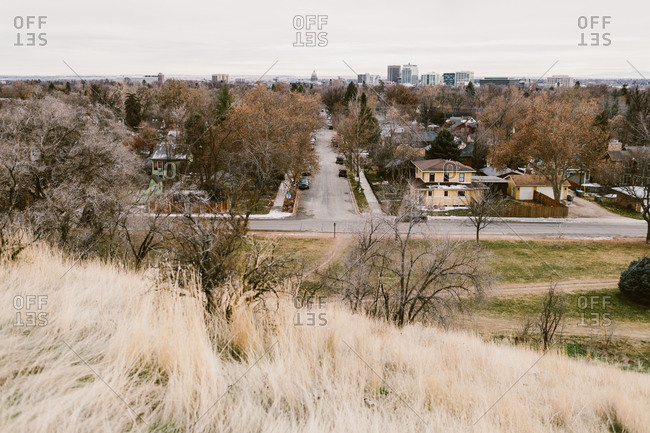 Looking down from a hill on a neighborhood in Boise, Idaho