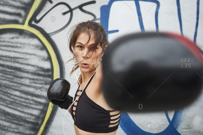 Woman using self defense training, Montreal, Quebec, Canada
