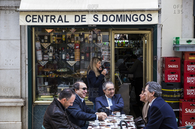 March 28, 2016: People at a cafe in Lisbon, Portugal.