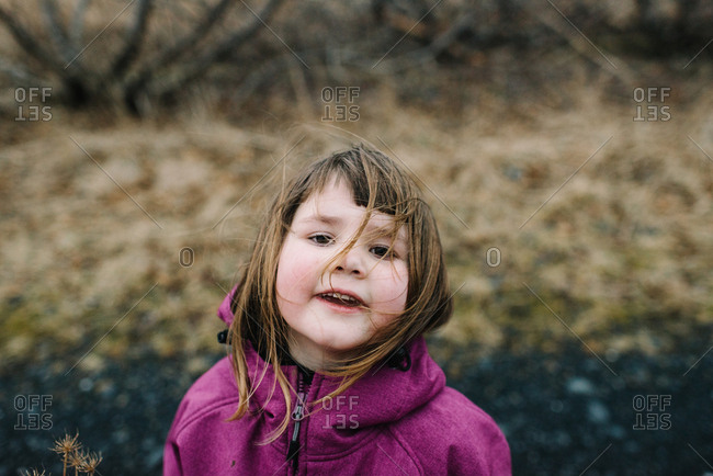 Portrait of a little girl with brown wind blown hair