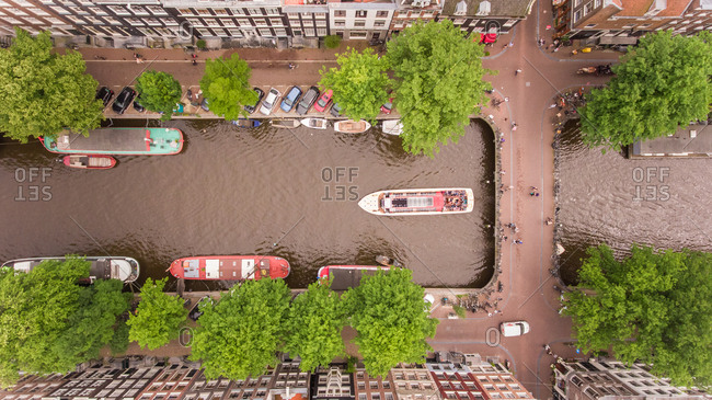 Aerial view of typical scenery in Amsterdam, The Netherlands.