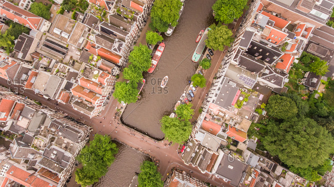 Aerial view of canal in Amsterdam, the Netherlands.
