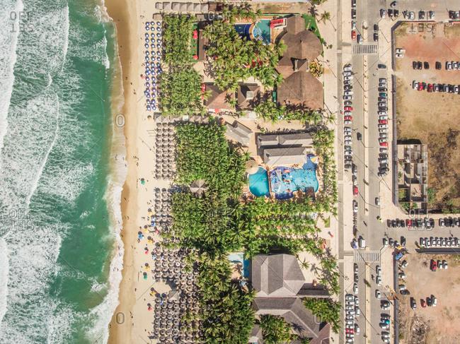 Aerial view of Fortaleza beach, Brazil.