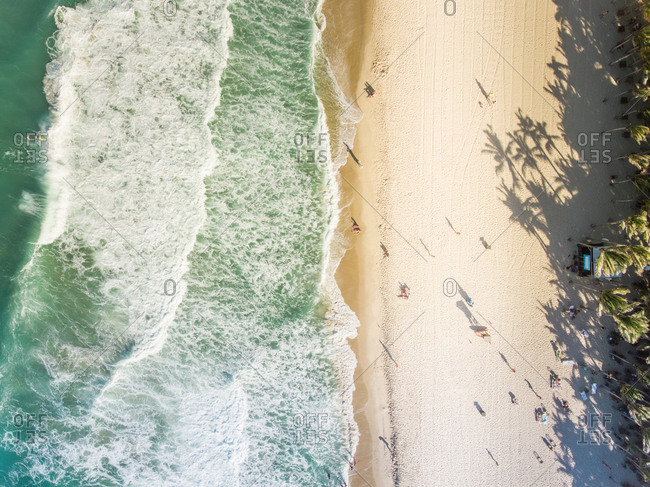 Aerial view of Forteleza beach in Brazil.