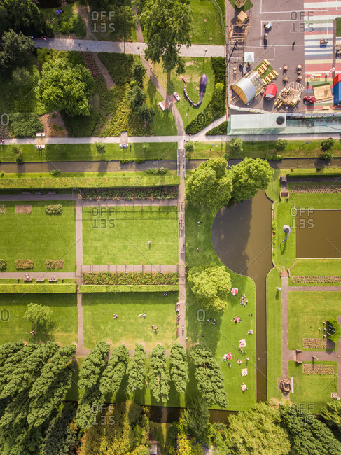 Aerial view of a park in Rotterdam, The Netherlands.