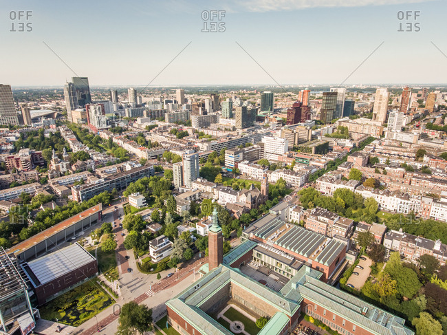 Aerial view of Rotterdam center, The Netherlands.