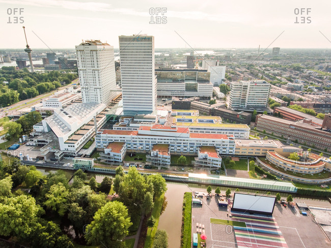 August 18, 2016: Aerial view of Rotterdam center, The Netherlands.