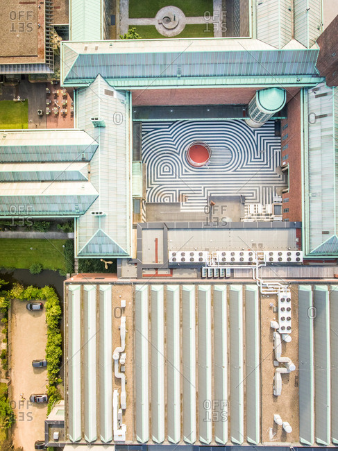 Aerial view of yard in the city center of Rotterdam, The Netherlands.