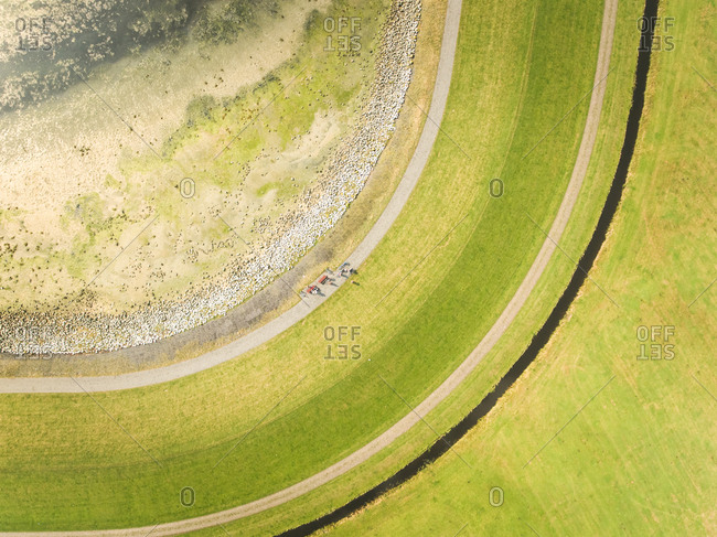 Aerial view of meadow in the Netherlands