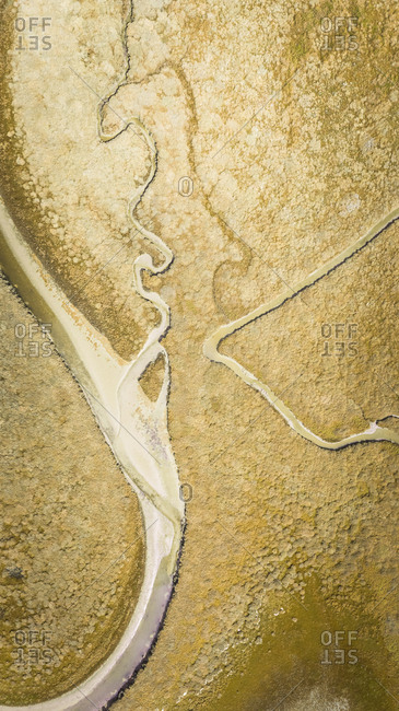 Abstract aerial view of Terschelling wetlands in The Netherlands.