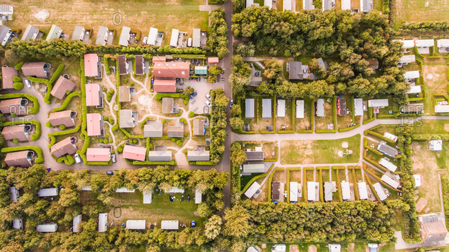 FORMERUM, THE NETHERLANDS - 29 AUGUST 2016 : Aerial view of a campsite in The Netherlands.