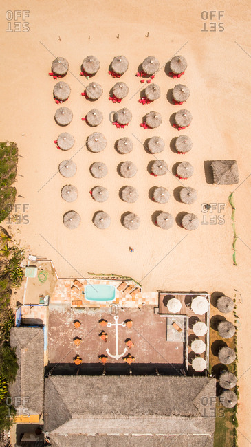 Aerial view of an empty restaurant on the beach in Brazil.