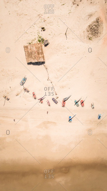 Aerial view of Brazilian fishing boat on the beach.