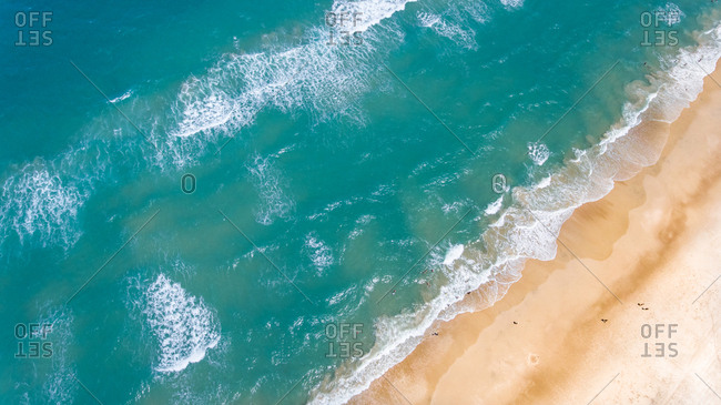 Aerial view of people swimming in the sea in Brazil.
