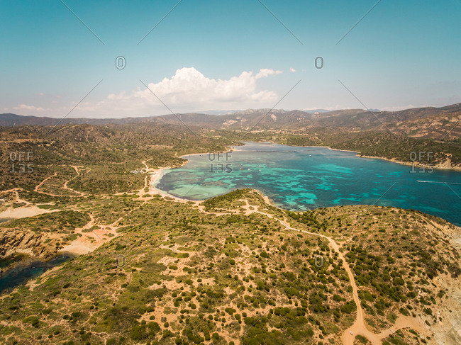 Aerial view of wild landscapes and sea in Sardinia, italy.