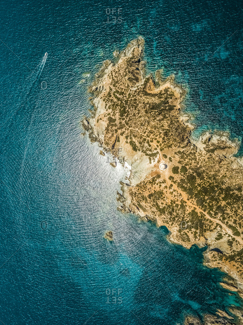 Aerial view of Tower on Malfatano cape in Sardinia, Italy.