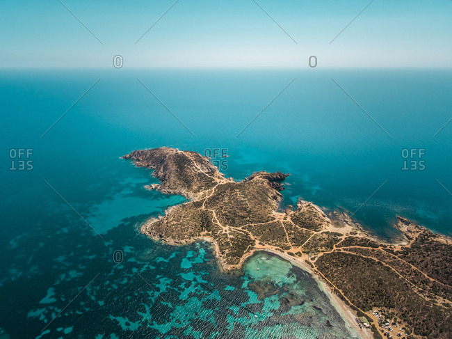 Aerial view of Malfatano cape in Sardinia, Italy.