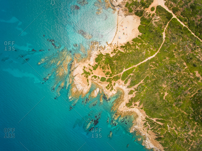 Aerial view of the coast in Sardinia, Italy.