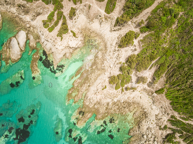 Aerial view of Idyllic sea on Sardinia coast, Italy.