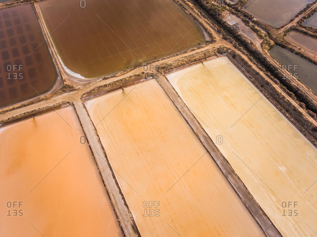 Aerial view of salt marsh in Algarve in Portugal.