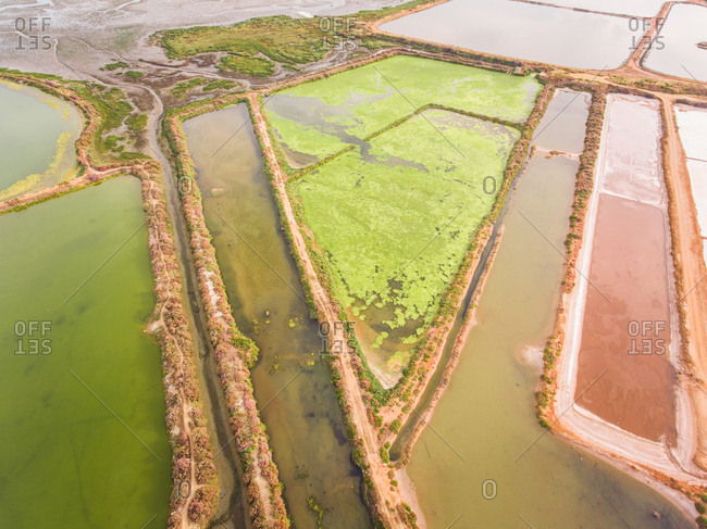 Aerial view of colorful salt marsh in Portugal.