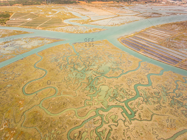 Aerial view of wetlands in Andalusia, Spain.