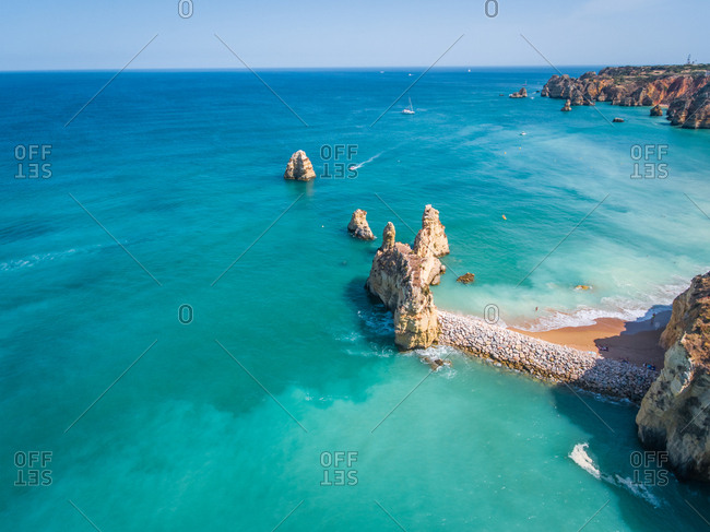 Aerial view of Ponta da Piedade coastline, Portugal.