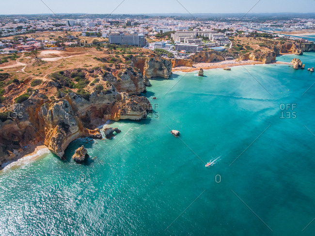 Aerial view of The Ponta da Piedade coastline, Portugal