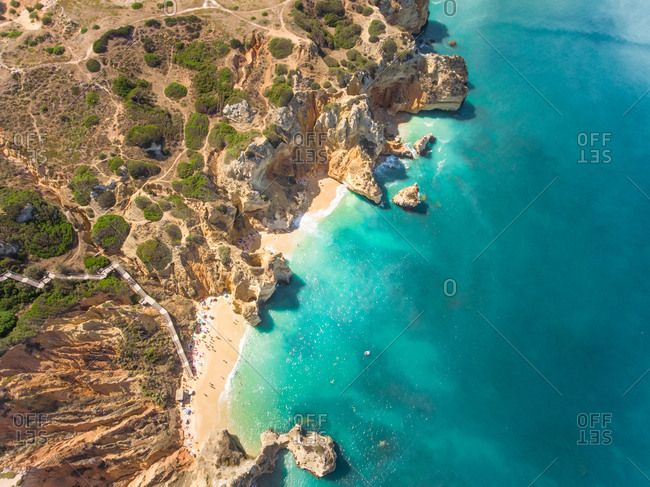 Aerial view of The Ponta da Piedade coastline and beach in portugal.