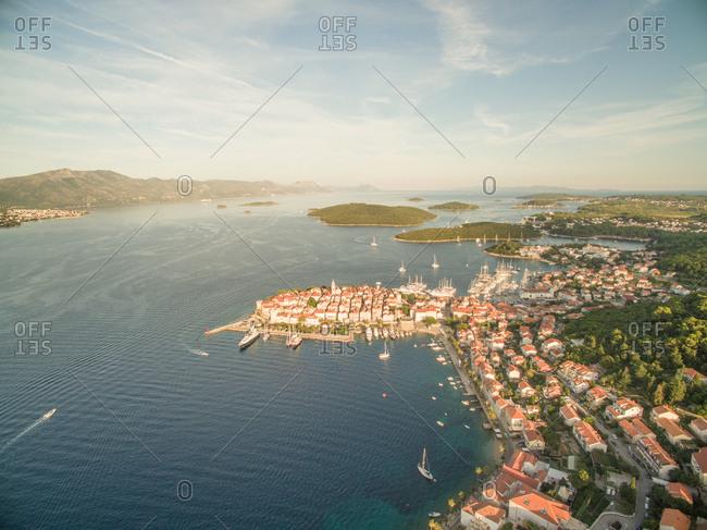 Aerial view of the Korcula island, Croatia.