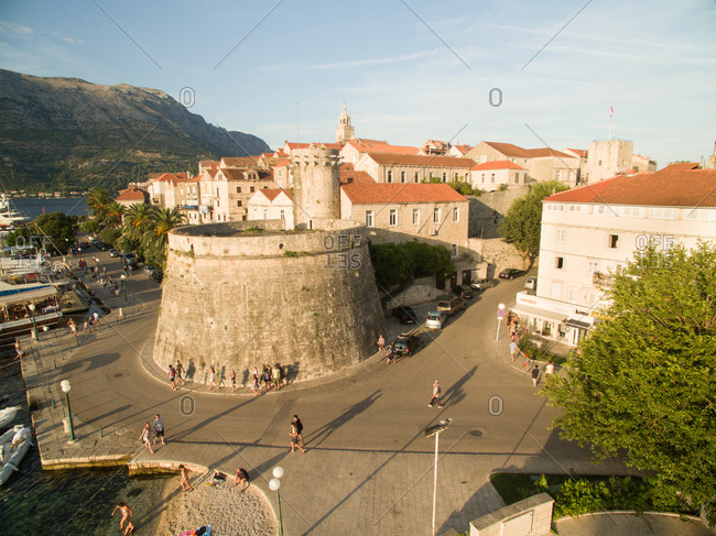Aerial view of the Korcula island medieval walls and houses, Croatia