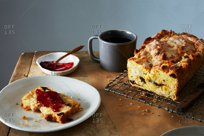 Chocolate marzipan scone loaf cake