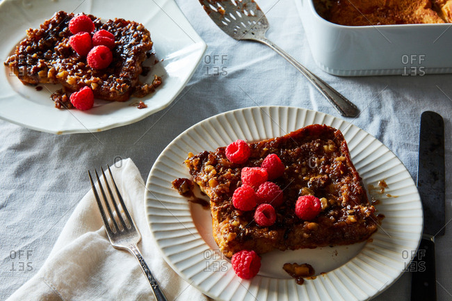 Baked french toast with walnuts and lemon