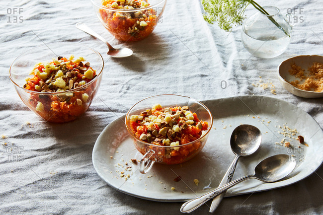 Carrot halwa with cloves and caradmom