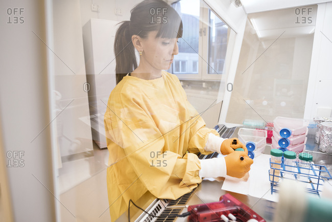 Woman working in lab in Sweden