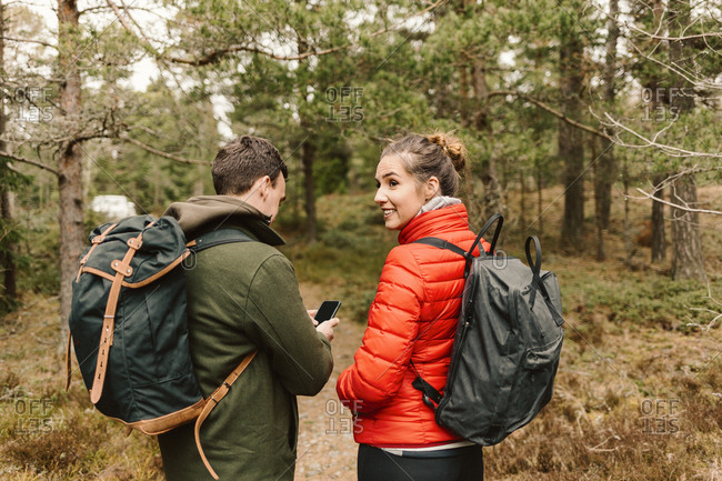 Couple hiking in Sodermanland, Sweden