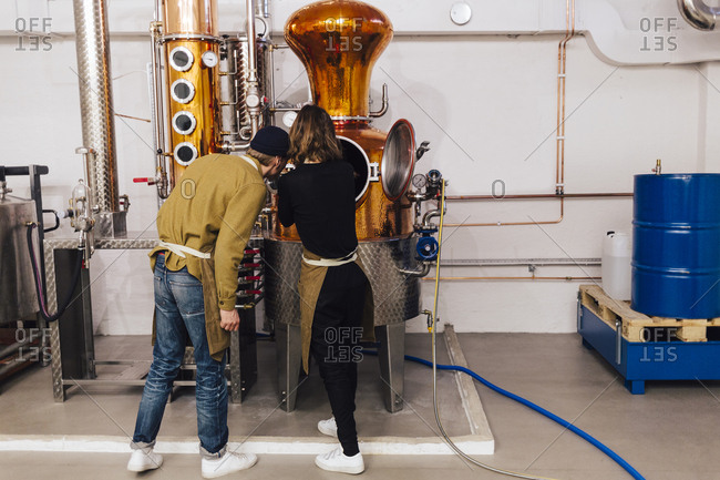 Workers at gin distillery in Sweden