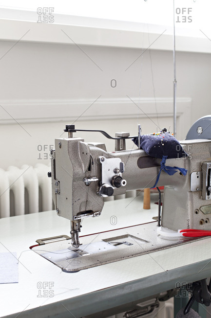 Close-up of industrial sewing machine